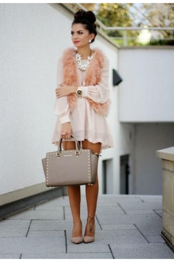 dress tunic blush dress blush tunic pink girly fashion fashion bloggers style blogger ootd wiwt bag jacket pink vest top outfit
