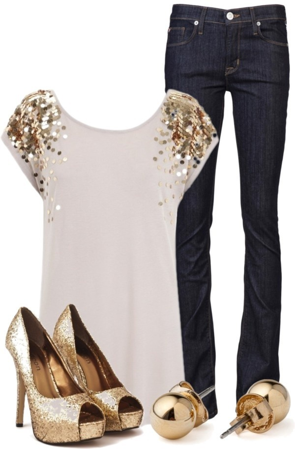 shirt white gold glitter jewels blouse gold sequin shoulder sequins