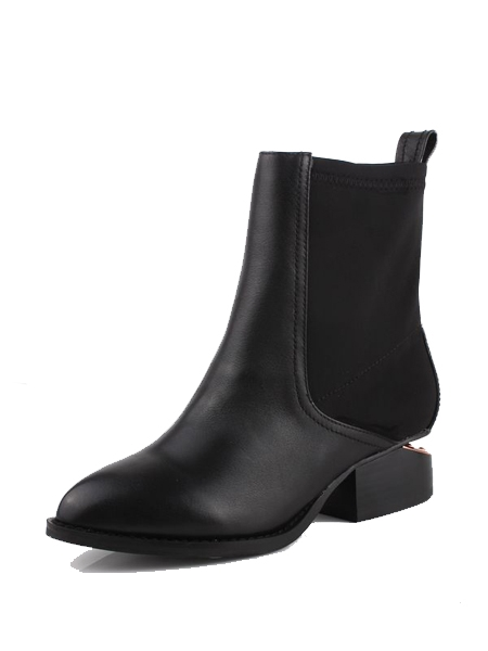 Leather Elastic Cloth Notched Heel Pointed Boots | Choies
