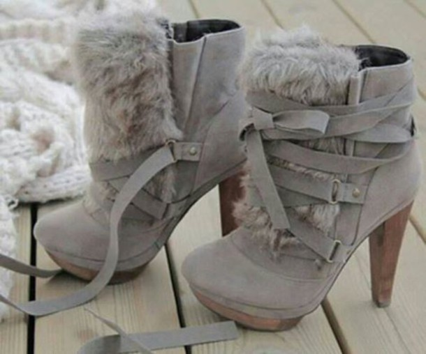 shoes grey shoes heels fur boots fur grey fur grey heels