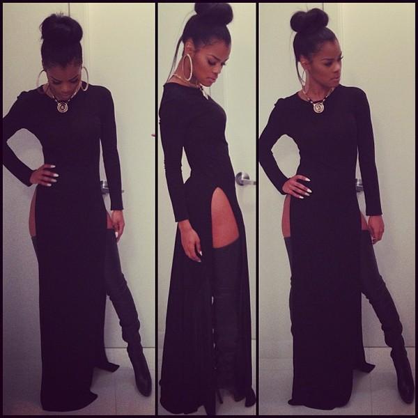 dress slit dress black long heels necklace earrings white nails messy bun gold chain teyana taylor shoes jewels