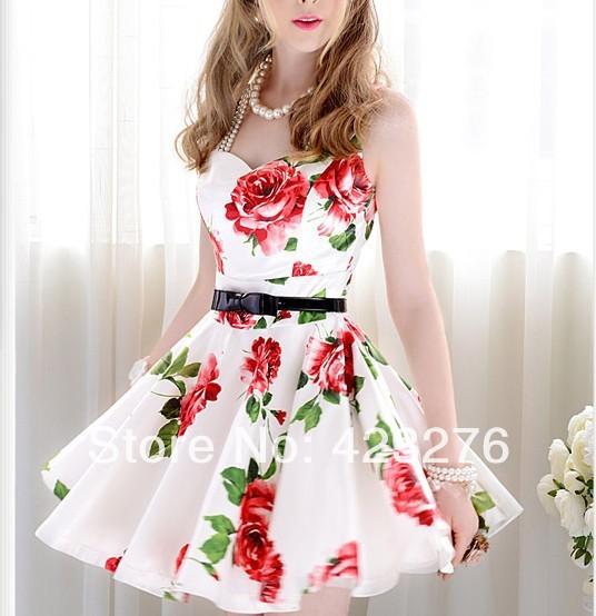 1807 2014 nouveau été, minces. blanc et rouge fleur minces. ceinture, expansion fond sans manches, un  pièce