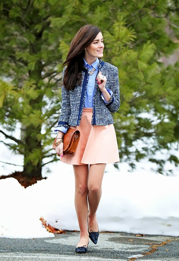 classy girls wear pearls jacket shirt skirt bag shoes jewels