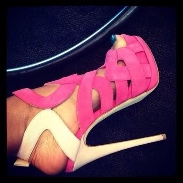 shoes high heels pink high heels strappy heels