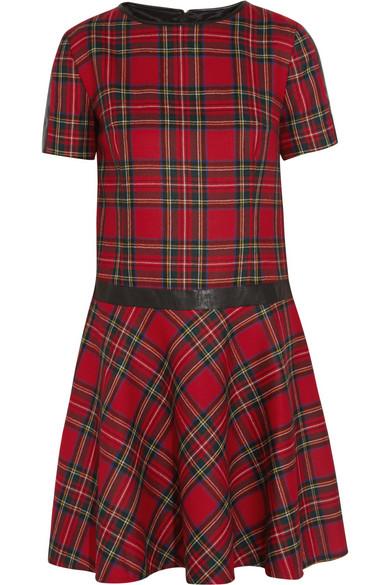 Karl Lagerfeld|Penny faux leather-trimmed tartan wool dress|NET-A-PORTER.COM