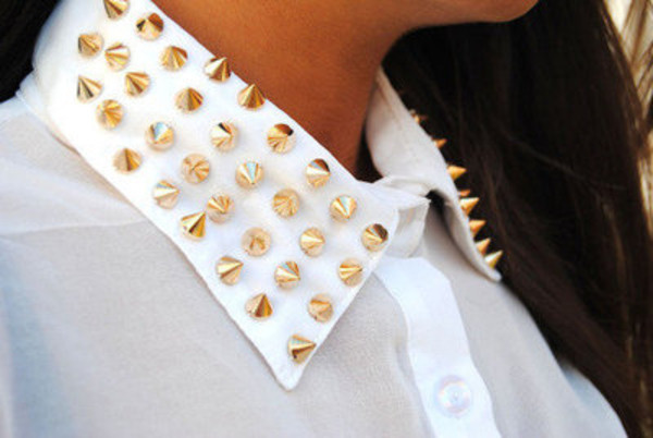 blouse spikes collar gold