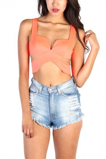 LoveMelrose.com From Harry & Molly | Wrap Cross Over Busteir Crop Top - Neon Orange
