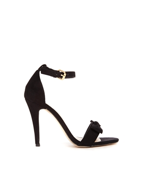 New Look | New Look Present Black Bow Barely There Heeled Sandals at ASOS