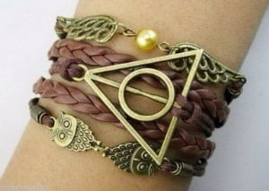 Harry Potter Braided rope, platted Leather bracelet, Snitch Angel Wings, Owl, Deathly Hallows Charm Bracelet: Amazon.co.uk: Jewellery