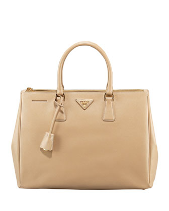 Prada Saffiano Executive Tote Bag, Beige - Neiman Marcus