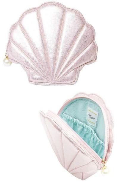 bag shell metallic bag mermaid look pink bag seapearl