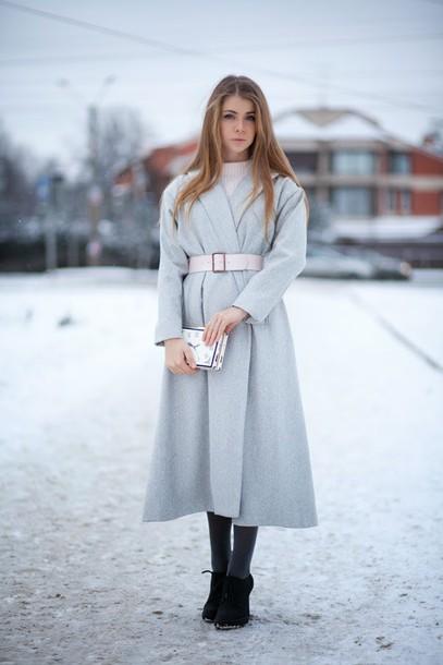 acid coke blogger light blue belt pastel winter coat clutch