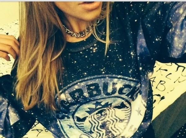 sweater dark blue starbucks coffee galaxy print