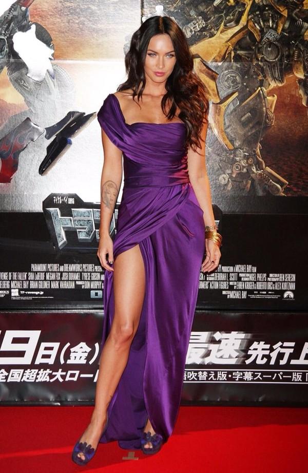 dress purple dress satin prom dress megan fox
