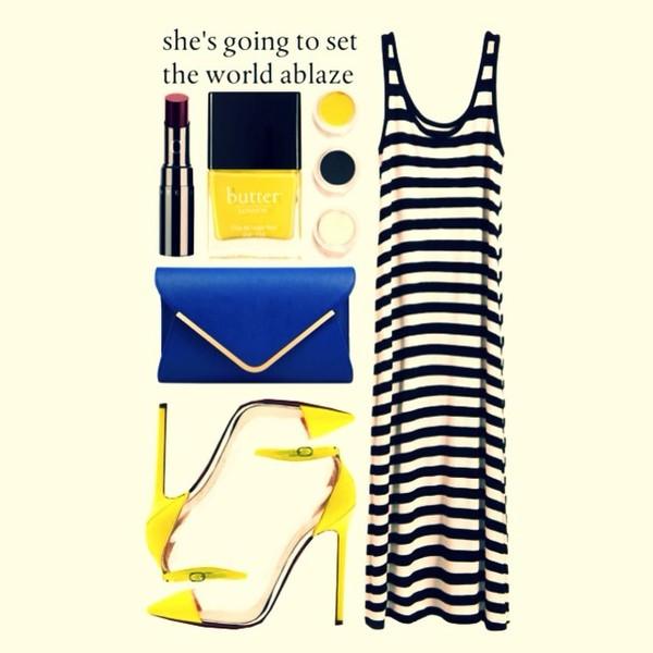 bag stipes yellow white dress dress summer dress blue blue bag high heels cute high heels nail polish shoes