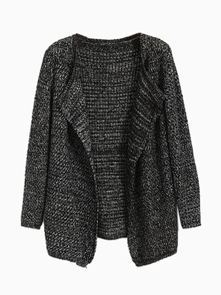 Open Front Mixed Knit Cardigan In Black | Choies