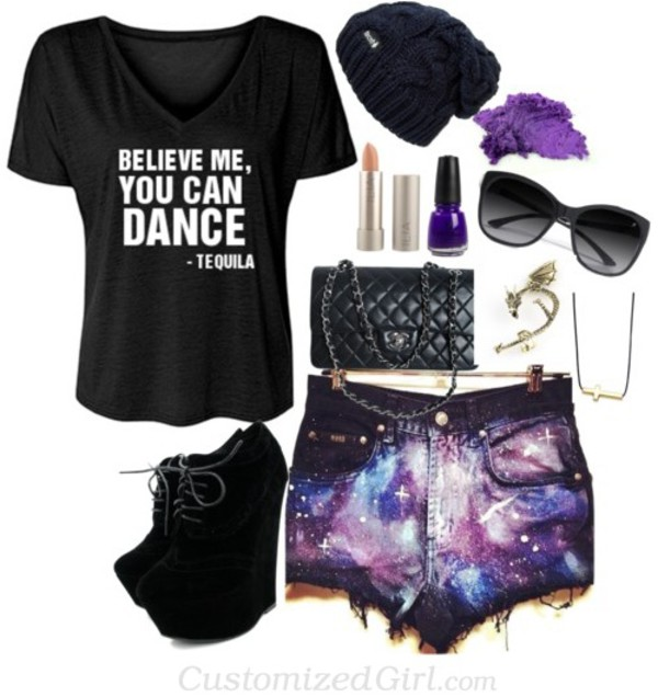 shorts galaxy print galaxy shorts space distressed denim shorts blouse bag shoes hat