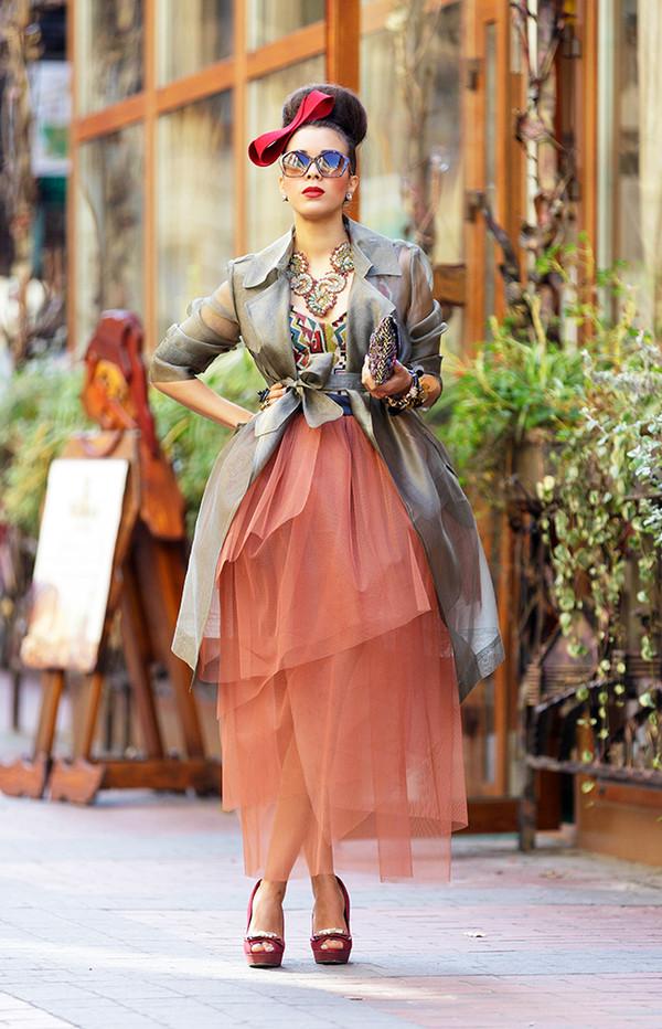 macademian girl coat t-shirt skirt shoes bag sunglasses jewels