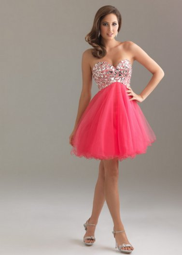 Coral Short Rhinestone Top Tulle Night Moves 6410 Dress [Night Moves 6410 Coral] - $168.00 : Prom Dresses 2014 Sale, 70% off Dresses for Prom