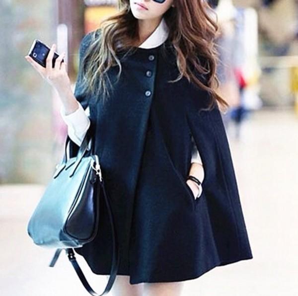 coat wool poncho jacket silver watch bangle girl women discount black black coat lolita cute asian fashion fall outfits winter outfits winter coat streetwear streetstyle