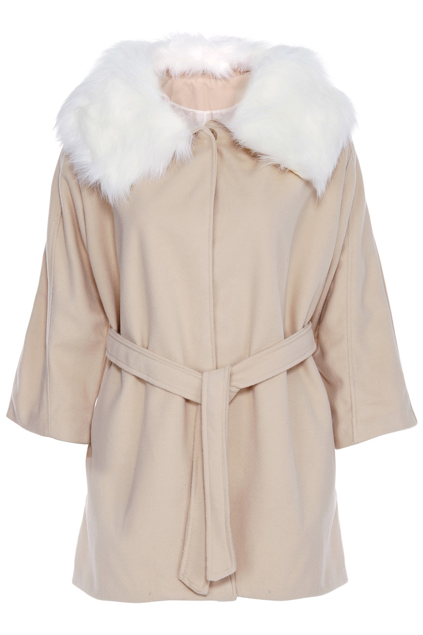 ROMWE   ROMWE Belted Hooded Batwing Cropped Sleeves Apricot Coat, The Latest Street Fashion