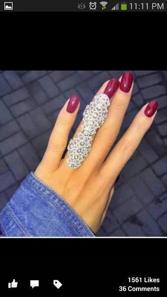 jewels bling ring fullfingerring armor ring largering large ring rhinestones jewelry jewelry ring