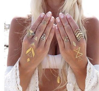 jewels chevron geometric phoenix crescent moon ring fake tattoos jewelry boho boho chic boho jewelry bohemian gold gold ring