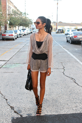 tuolomee blogger sunglasses party outfits clubwear romper strappy sandals top shorts shoes bag caged sandals