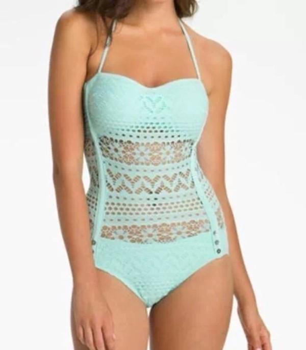 swimwear turquoise bikini beautiful flowers shape