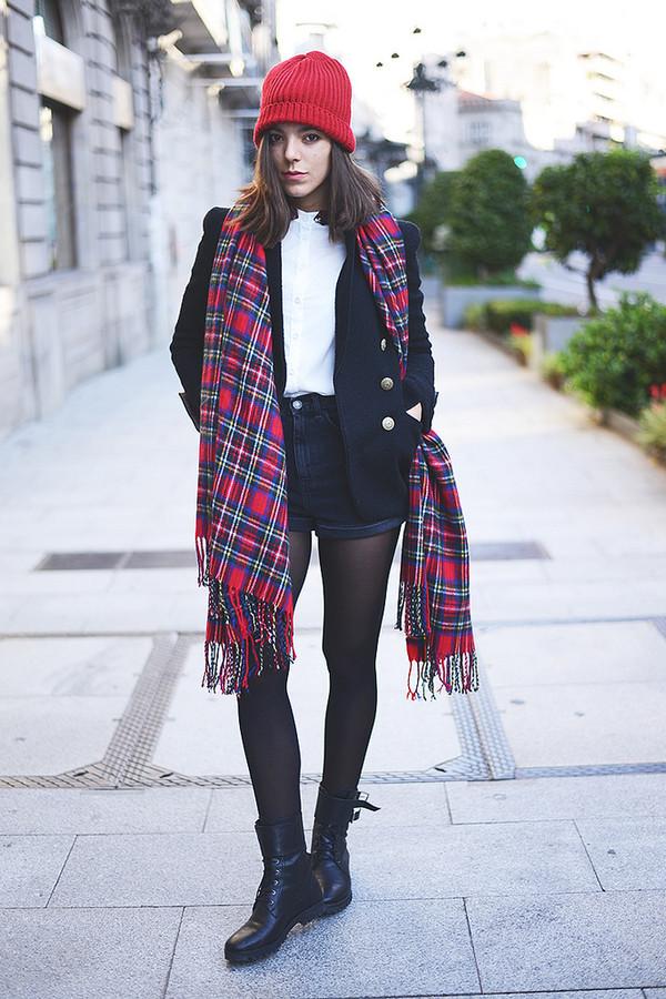 the fashion through my eyes shorts jacket hat scarf bag shoes shirt