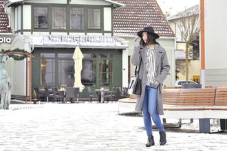 shiny sil blogger gloves long coat grey coat print coat blouse pants bag hat top shoes