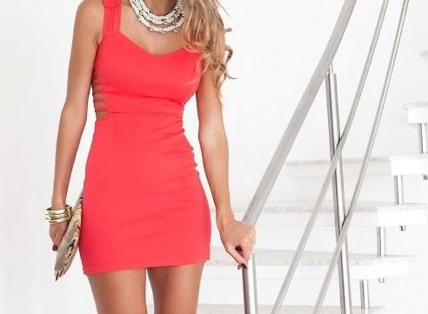dress red dress coral dress cut-out dress open back