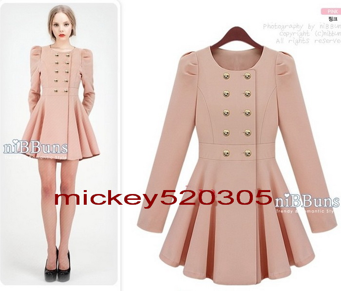 Women New Slim Puff Sleeve Skirt Trenchcoat Double Breasted Jacket Pink Blue | eBay