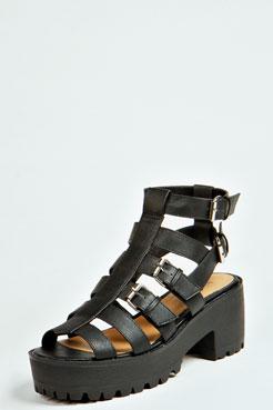 Ciara Multi Strap & Buckle Cleated Sole Flat at boohoo.com