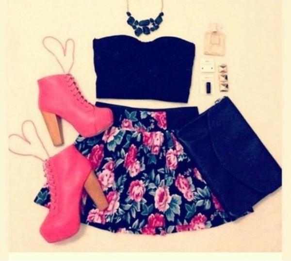 skirt tank top jewels shoes pink flowers high heels