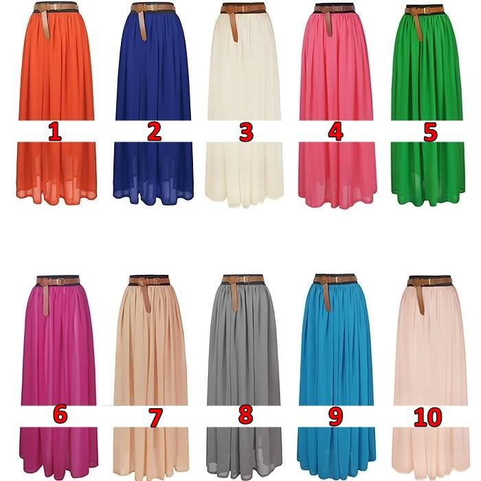 Elegant Chiffon Hot Sexy Pleated Long Maxi Skirt Elastic Waist Band Dance Dress | eBay