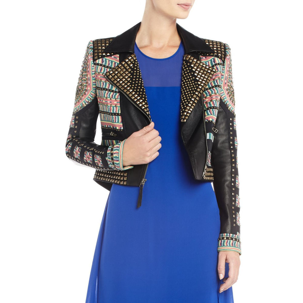 BCBG MAXAZRIA Runway Ossie Black Studded Studs Embroided Leather Jacket Size L | eBay