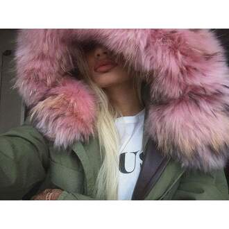 coat pink khaki fourrure army green jacket beautiful coat girly beautiful winter coat fur coat fall coat fuzzy coat trench coat grey coat pink coat faux fur coat girls coat fur hood pink fur hippie chic jacket pia mia perez green coat celebrity fur