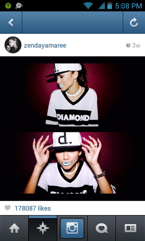 shirt t-shirt diamonds diamond supply co. hat snapback zendaya jewels