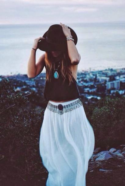 skirt white dress style summer dress beach long skirt top crop tops