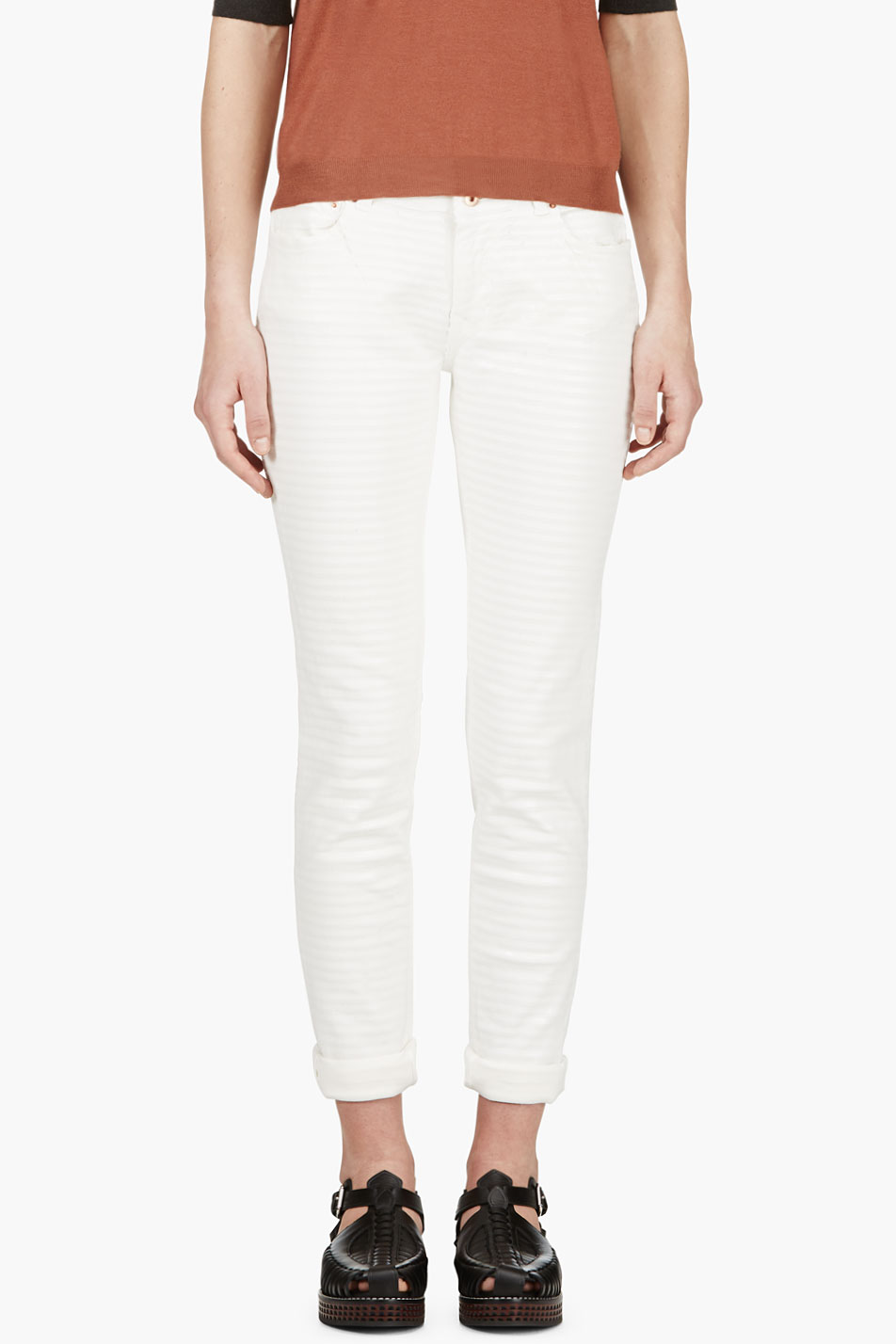 avelon ivory painted stripe neon jeans