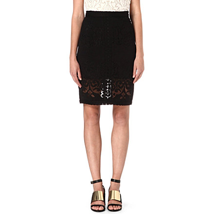 SEA - Embroidered-lace pencil skirt | selfridges.com