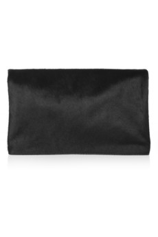 Iris & Ink Hoxton calf hair and leather foldover clutch - Exclusively for THE OUTNET