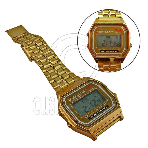 Classic Vintage Gold Metal Mens 80s LCD Digital Display Retro Wrist Watch | eBay