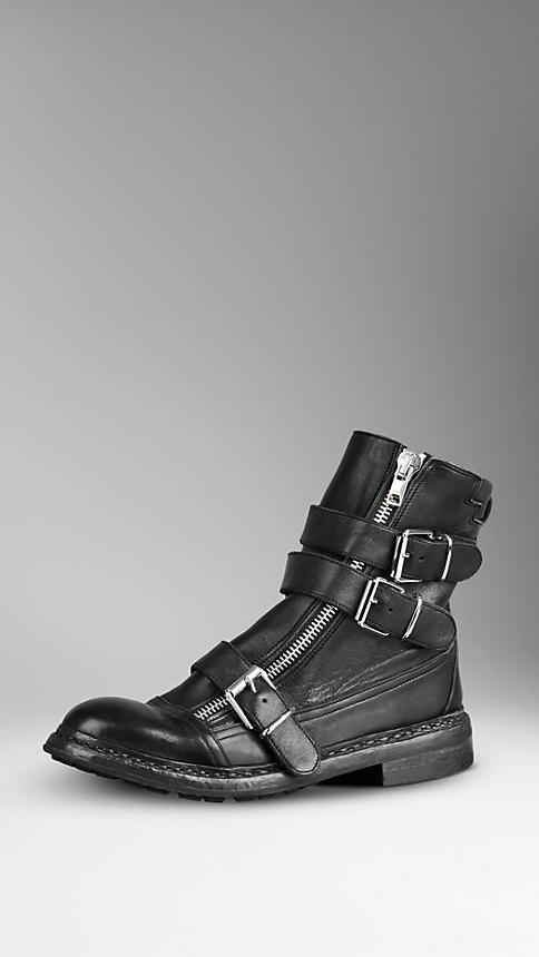 Buckle Detail Zip Ankle Boots | Burberry
