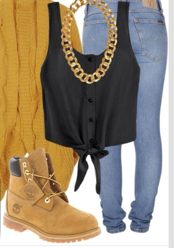 shoes jeans blouse jewels sweater