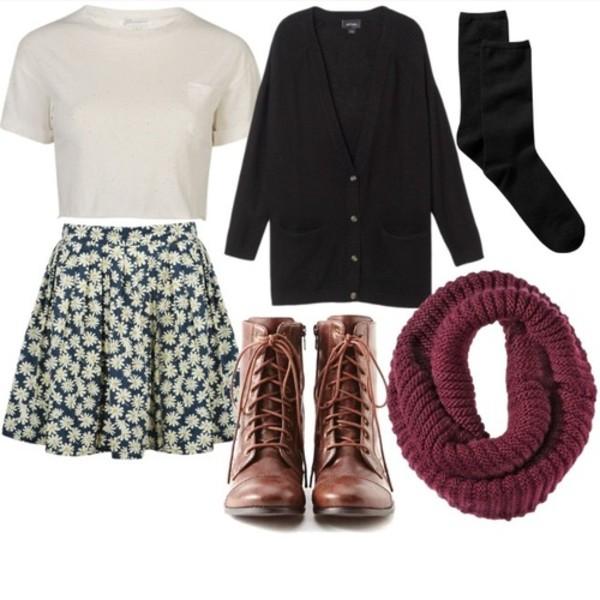 skirt sunflower skater skirt sunflower skirt blouse shoes scarf underwear jacket