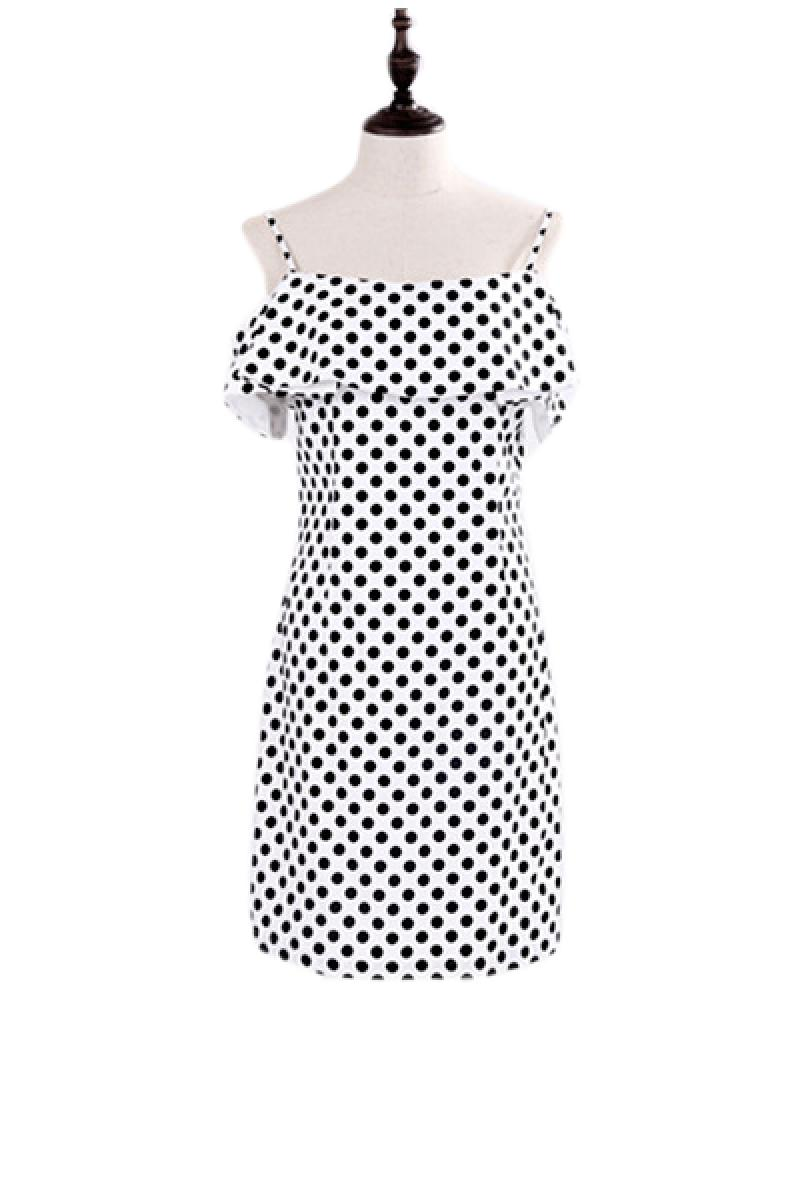 Condole Belt Falbala Romantic Dots Dress,Cheap in Wendybox.com