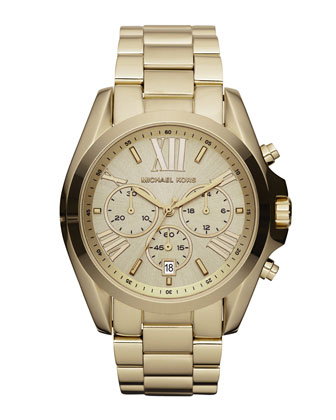 Michael Kors Mid-Size Bradshaw Chronograph Watch, Golden - Michael Kors