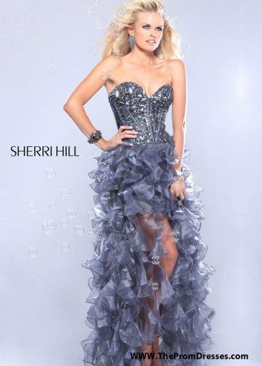Grey Beaded Corset Top Organza Ruffled Hi Lo Dress for Prom 2014 [Sherri Hill 1586 Grey] - $179.00 : Prom Dresses 2014 Sale, 70% off Dresses for Prom
